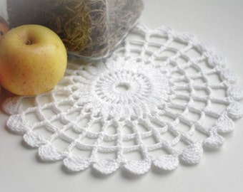 White cotton doily Small crochet doilies Round lace doily Simple crocheted doily 162