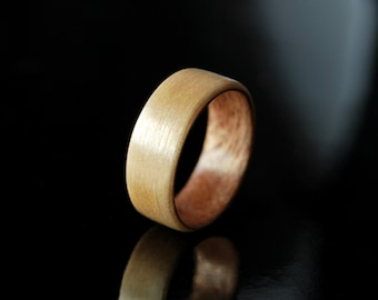 Handcrafted Wood Band Men · Maple & Mahogany Ring · Wood Ring Men · Bentwood • valentines day gift • valentines • personalized gift