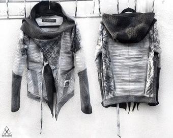 Faux leather jacket, distressed jacket, postapocalyptic jacket, leather jacket, cyberpunk jacket, steampunk, asymmetric  jacket, black