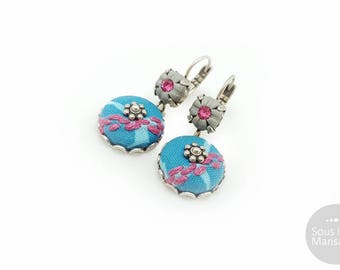 Blue dangle earrings, blue embroidered earrings, romantic earrings