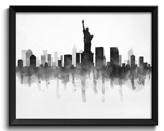 New York City Skyline New York Skyline USA United States Cityscape Art Print Poster Black White Grey Watercolor Painting