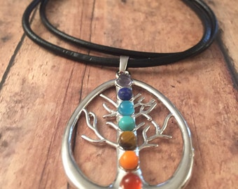 Tree of Life chakra necklace on a black leather cord, silver metal charm, tree of life pendant, gifts
