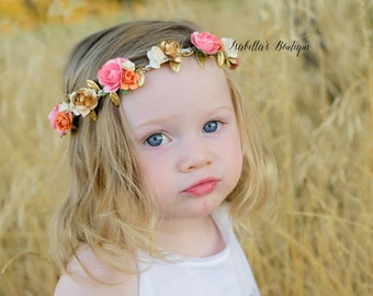 Peach Coral Cream and Gold Floral Crown - Floral Halo Floral Boho Headband Newborn Photo Prop Shabby Chic