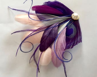 CASEY Blush Pink, Purple, Gray, and Lavender, and Blue Peacock Mini Feather Hair Clip with Gold Pearl, Feather Fascinator