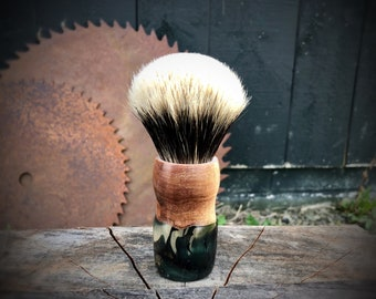 Shaving Brush with Maple hybrid handle and two band finest or silver tip knot