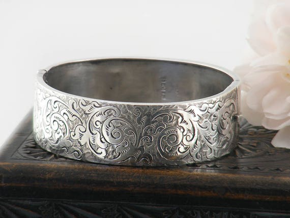 Antique Sterling Silver Bracelet | Victorian Silver Cuff Bracelet | 1882 Hallmarked | Acanthus Scroll Paisley Pattern | Wide Hinged Bangle