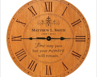 """Personalized Clock, In memory of Clock, In Loving Memory, """"Time may pass but your memory will remain."""" Bereavement Gift, Sympathy Gift"""