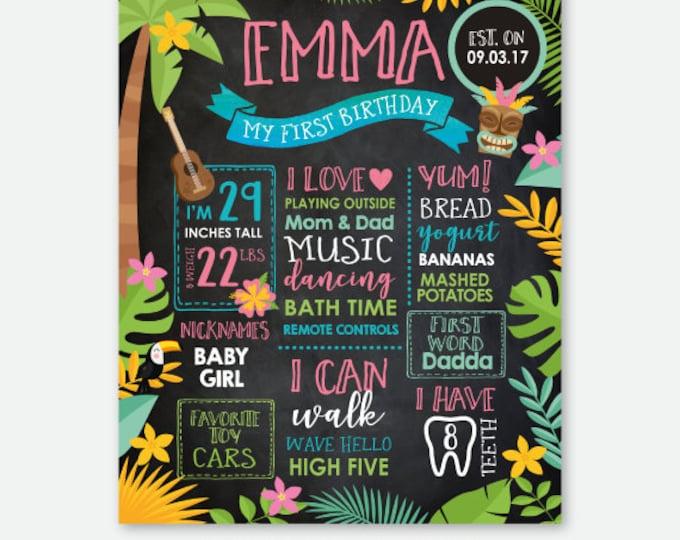 Luau Birthday Chalkboard, Hawaiian Party Milestones Board, Summer Birthday Party, Pool Birthday Party, Personalized Digital Sign