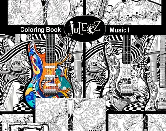 Adult Coloring Page, Printable Guitar Coloring Pages, Music Coloring Poster, Instant Download Coloring by Juleez