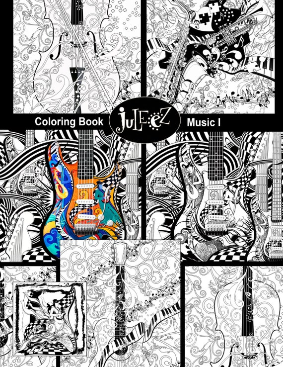 Adult Coloring Page Printable Guitar Coloring Pages Music