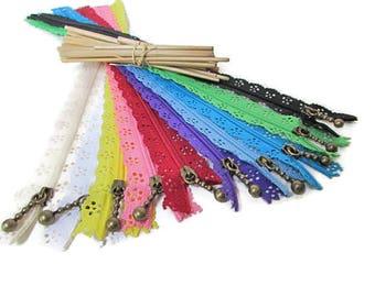 10 35 cm - scalloped not separable - 10 colors-nylon - 4.59 zipper closure
