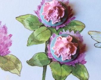 Vintage Lilac Rose Earrings