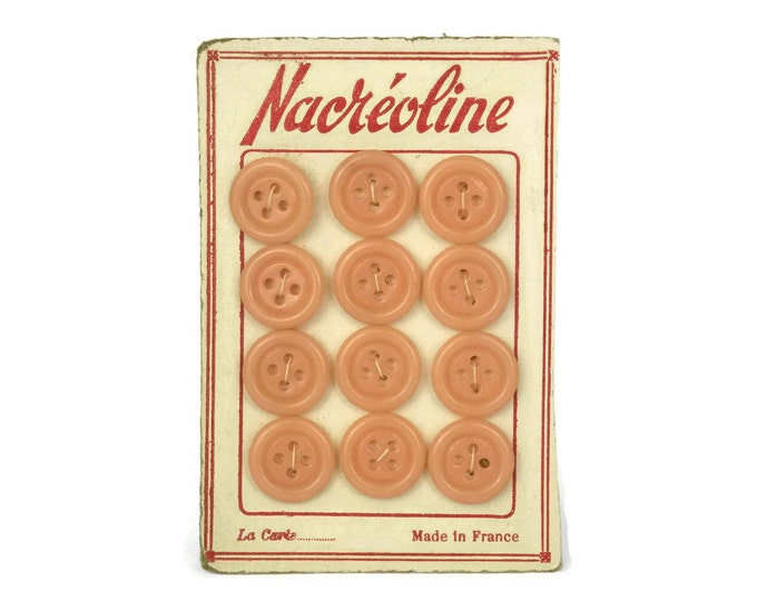 Vintage Button Card. Collectible Pink Sewing Buttons with French Advertising. Craft Room Decor. Gifts For Her. Sample Card.