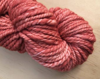 Handspun and hand dyed yarn, bulky handspun, coral pink yarn, merino yarn, yarn for weaving