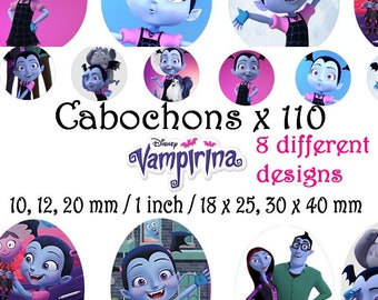 Digital Collage Disney Vampirina 2 Sheets 110 images 1 inch, 10 => 20 mm + ovale Cabochon Bottlecap Magnet Printable Image clipart Download