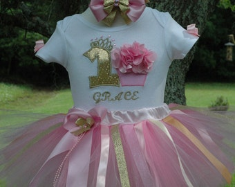 pink and gold,baby girl 1st birthday,tutu outfit,1st birthday outfit,baby girl dress,pink gold tutu outfit,photoprop,baby tutu,personalized