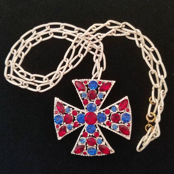 1970s Monet Red White and Blue Maltese Cross Pendant Pin Necklace