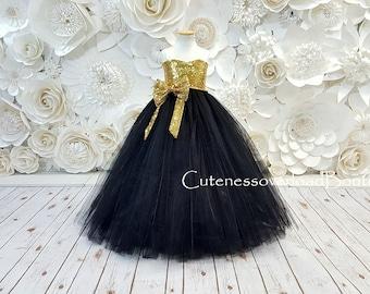Black Flower Girl Tutu Dress-Black Tutu Dress-Black Tutu-Black Dress-Black Girl Tutu-Black Birthday Dress-Black Bride Dress-Black Party Tutu