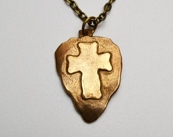 Bronze Clay Cross Pendant Necklace