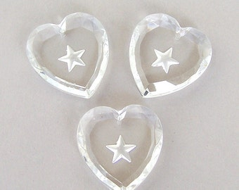 3 vintage German large clear glass heart pendants, top drilled focals, faceted with star design, 31mm x 28mm
