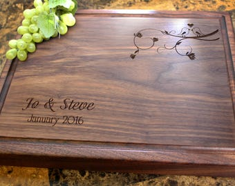 Personalized Chopping Block, 12x15~1&3/4 thick Walnut/Cherry/Sapele, Engraved Butcher Block  - Wedding, Anniversary, Housewarming Gift. 407