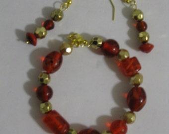 Red Glass Beaded Bracelet and Earring Goldtone Set