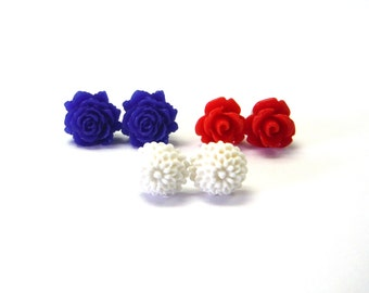 Red White and Blue Flower Stud Trio