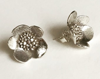 Large Sterling Silver Granulated Blossom Post Earrings (EP-LGBS)