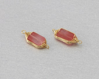 Cherry Quartz Gemstone Connector . Polished Gold Plated . 10 Pieces / G3010G-CQ010