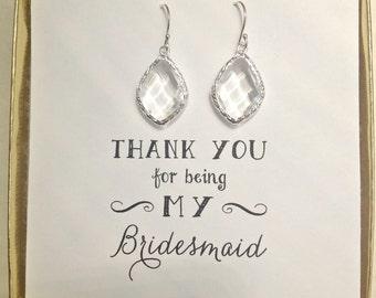 Set of 7 Bridesmaid Earrings, Crystal Silver Earrings, Silver Bridesmaid Earring, Clear Crystal Earrings, ES7