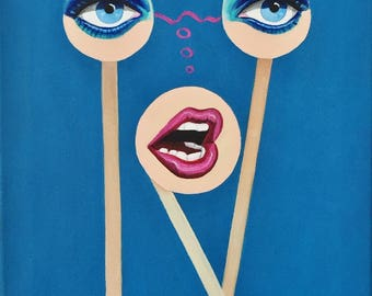 """Surreal Portrait of a Woman acrylic painting - Eyes, Lips painting, 12"""" x 16"""""""