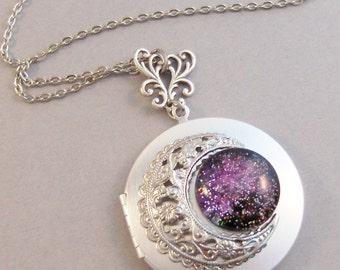 Heavens View,Purple Locket,Silver,Purple,Amethyst,Galaxy Necklace,Galaxy Locket,Earth,Moon,Star,Heaven Locket,Moon Necklace,Globe Necklace,