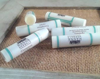 Cinnamon Lip Balm - 5 pack -Organic lip balm - essential oils - stocking stuffer