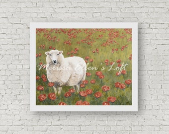 "Sheep painting, art print, mixed media, ""Pausing in the Poppies"""