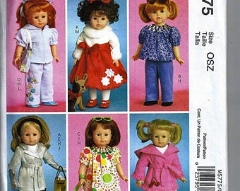 """18"""" (45.5cm) Doll Clothes / Original McCall's Crafts Uncut Sewing Pattern M5775"""