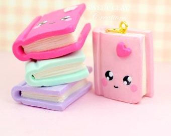 Teal Notebook Kawaii Charm Polymer Clay Charm Mini Book Charm Necklace Handmade Gift Girl