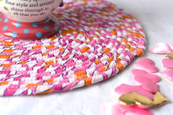 "Summer Place Mat, 12"" Handmade Pink Hot Pad, Picnic Table Mat, Pink Potholder, Quilted Table Topper, Magenta Pink Trivet"