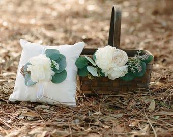 Rustic Woven Brown Flower Girl Basket and Linen Pillow Set | Eucalyptus Greenery | Ivory Flowers | Flower Girl | Ring Bearer | Wedding