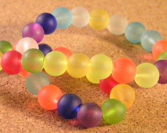 50 PE161 - mixed colors - bright color - 8 mm frosted glass beads