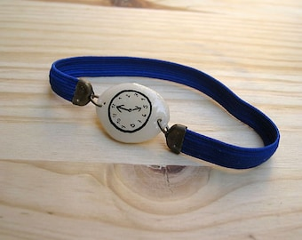 BLUE FLUOR Fake watch with elastic watchband bracelet. Porcelain toy clock.