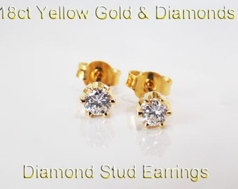 18ct 750 Yellow Gold Natural Round Brilliant Cut Diamond Stud Earrings Jewellery - HJ52