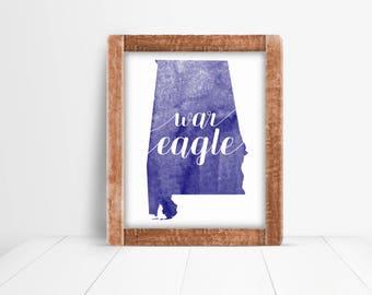 "Auburn ""War Eagle"" Navy Blue & White Watercolor Art Print, Wall Decor"