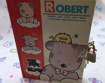 Robert - Bon Bon Cat 80's Vintage Diary with padlock. Chyuan Shyang Stationery Co.