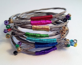 Guitar String Bangle | Handmade Recycled Bracelet | Salvaged Guitar String Jewelry | You Choose Color