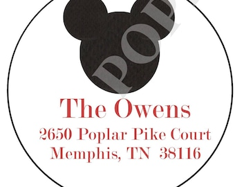 Mickey Mouse Address Sticker- Mickey Mouse address label- address label- Round Address Label