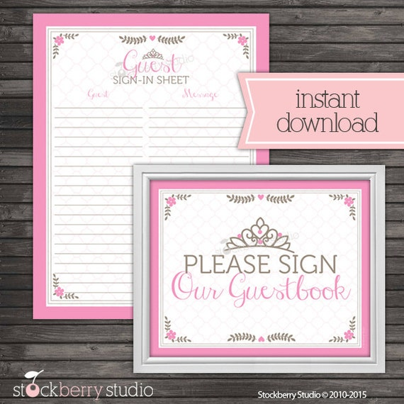 Princess Baby Shower Guest Book Sign In Printable Instant