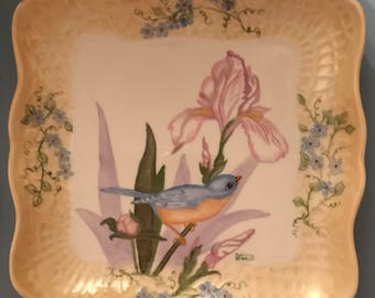 Hand painted square dish with a bluebird and iris