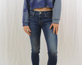Vintage Cropped Adidas Sweatshirt, Size Small-Medium, Grunge, Bleach Destroyed, 90's, Tumblr Clothing, OOAK, Sporty