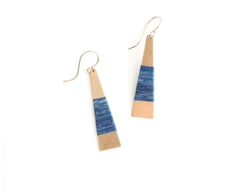 INDIGO Wrapped Earrings | elongated brass triangles with hand wrapped fibre detail