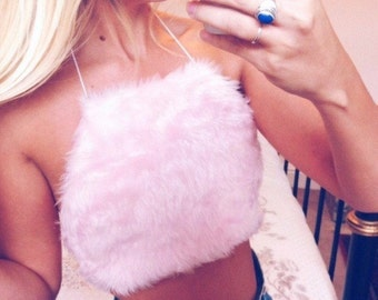 SUPER CUTE!!!!! Pink faux fur fluffy crop top uk - one size fits uk 6-8